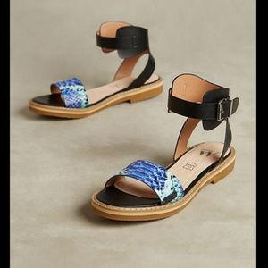 Anthropologie Vanessa Wu Snake Print Sandals Sz 38